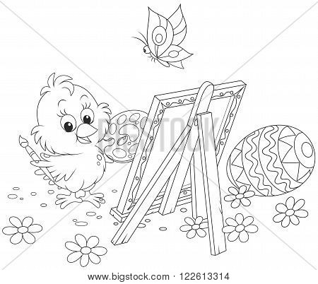 Easter Chick drawing a decorated egg on his canvas