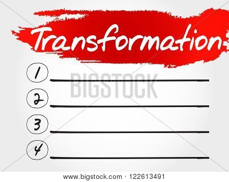 Transformation Blank List