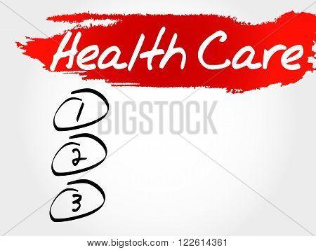 Health care blank list health concept, presentation background
