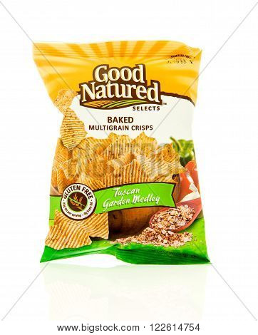 Winneconne WI - 17 Feb 2016: Bag of Good Natured baked chips in tuscan garden medley flavor.