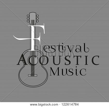 Poster with acoustic guitar silhouette. Text Festival Acoustic Music. Typograpgy Poster Concept.Template for music themed design, events, promotion, card, flyer, decoration. Vector illustration.