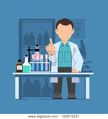 Character scientist teacher doctor in science research laboratory. Vector illustration of a man in a white coat. Flat style.