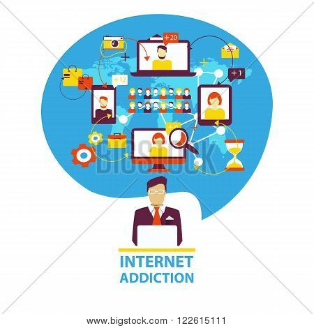 Internet addiction. Group of people use smartphone, notebook and tablet everyday for chatting, purchase and work.