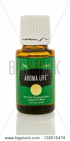 Winneconne WI - 10 Feb 2016: Bottle of Young Living aroma life essential oil.