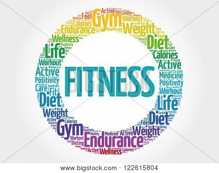 Fitness Circle Stamp Word Cloud