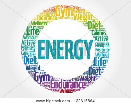 Energy Circle Stamp Word Cloud