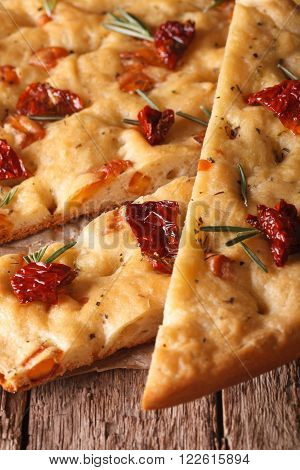 Sliced Italian Focaccia With Dried Tomatoes. Macro Vertical
