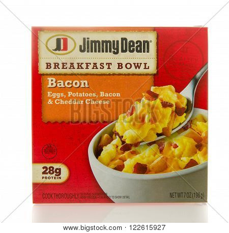 Winneconne WI - 2 March 2016: Box of Jimmy Dean breakfast bowl with bacon eggs potatoes and cheddar cheese.