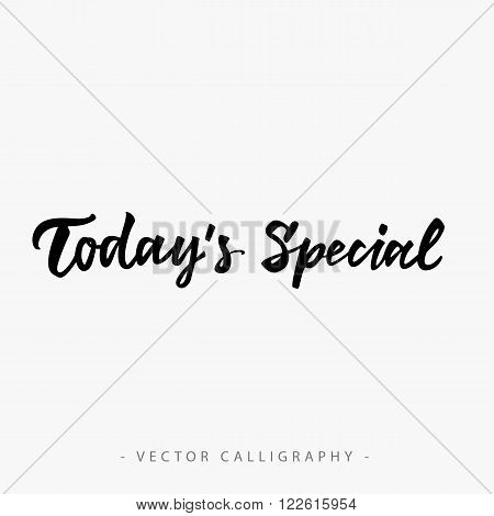 Handwritten todays special inscription isolated in white background