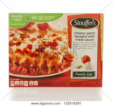 Winneconne WI - 2 March 2016: Box of Stouffer's dinner of cheesy garlic lasagna with meat sauce