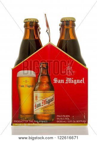 Winneconne WI - 14 March 2016: A six pack of San Miquel beer. The number one selling in the Philippines.