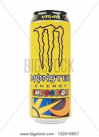 PULA, CROATIA - MARCH 19, 2016: Monster Energy 'The Doctor' is a limited edition MotoGP themed can made in honour of the legendary Valentino Rossi.
