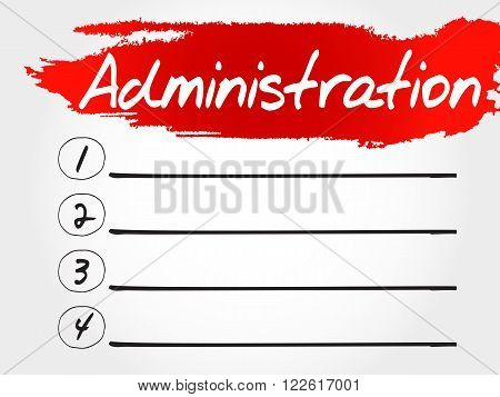 ADMINISTRATION blank list business concept, presentation background