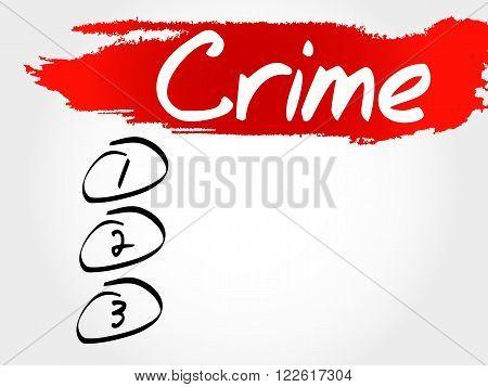 CRIME blank list business concept, presentation background