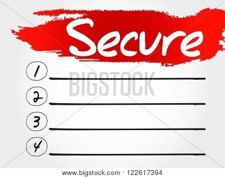 SECURE blank list business concept, presentation background