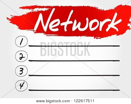 NETWORK blank list business concept, presentation background