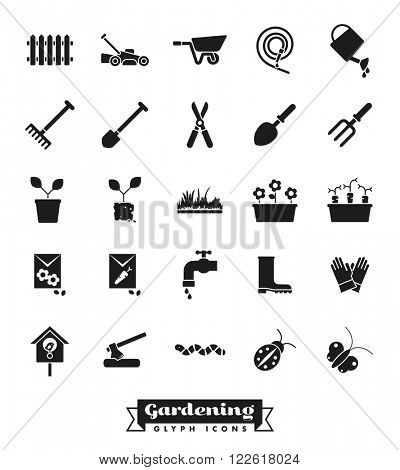 Gardening vector icons collection