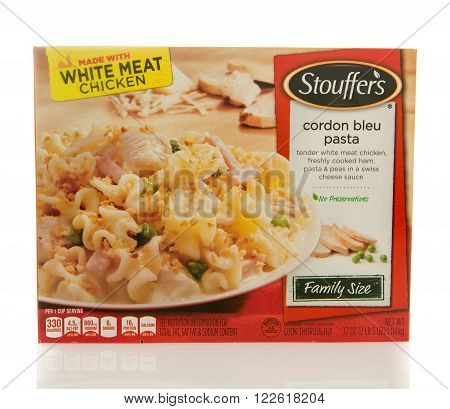 Winneconne WI - 2 March 2016: Box of Stouffer's dinner of cordon bleu pasta