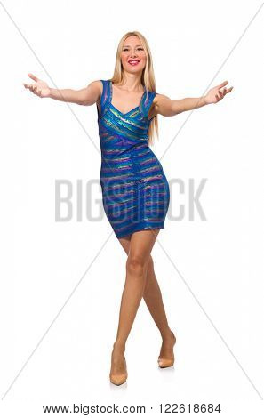 Tall blond woman in mini blue dress isolated on white