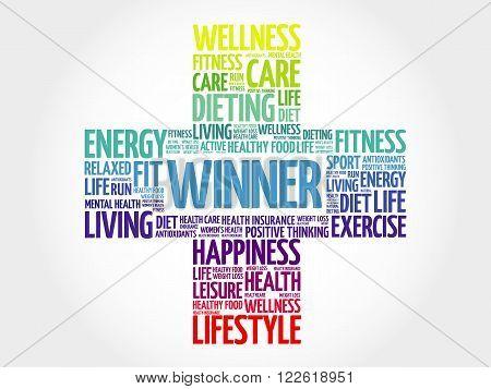 Winner word cloud health cross concept, presentation background