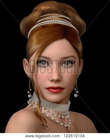 3d computer graphics of a portrait of lady with white pearls jewelry and evening hairstyle and makeup