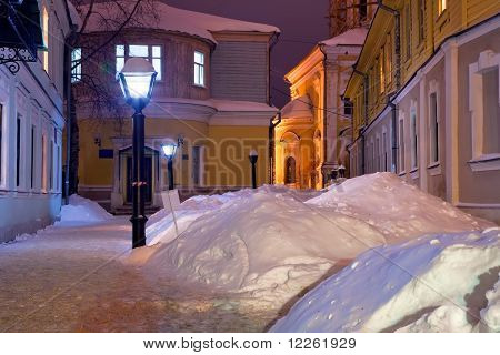 Night View Of Wintry Old Street
