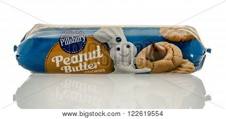 Winneconne WI - 7 Feb 2016: Package of Pillsbury cookie dough in peanut butter flavor.