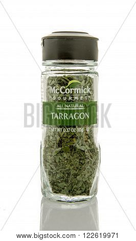 Winneconne WI - 26 Feb 2016: Bottle of McCormick gourmet tarragon seasoning