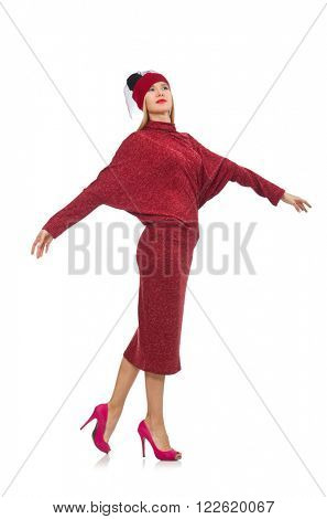Woman in bordo dress isolated on white