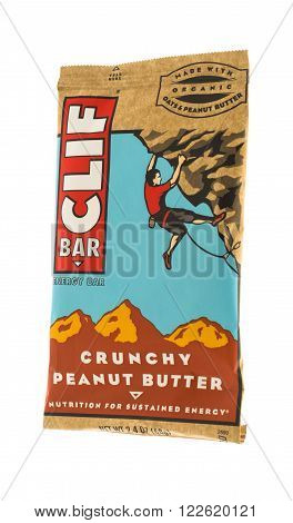 Winneconne WI - 15 May 2015: Cliff energy bar in crunchy peanut butter flavor.