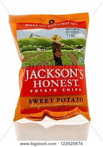 Winneconne WI - 5 March 2016: A bag of Jackson's honest potato chips in sweet potato flavor