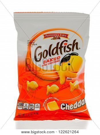 Winneconne WI - 1 March 2016: A bag of Goldfish baked crackers in cheddar flavor.