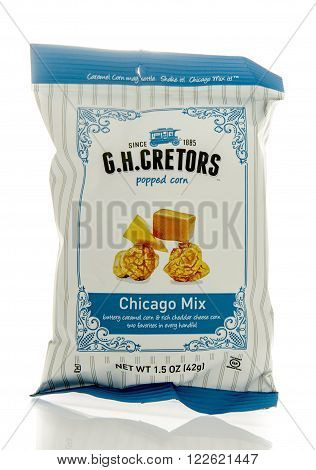 Winneconne WI - 5 March 2016: A bag of G.H. Cretors popped corn in Chicago mix flavor