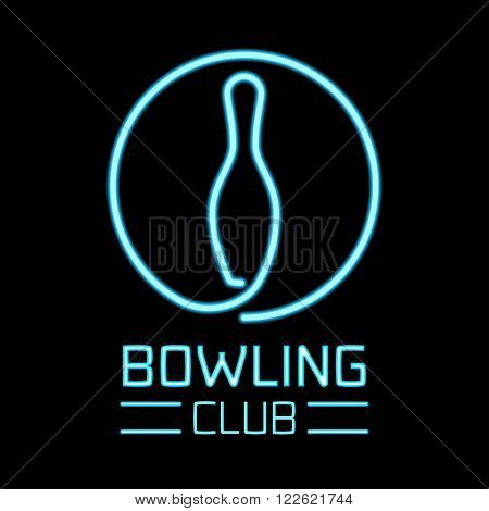 Bowling logo vector. Bowling sport concept sign design element. Neon sign