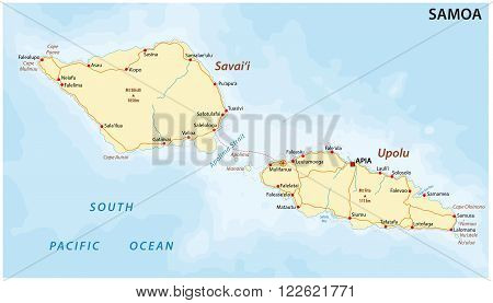 detailed vector map of Samoa with main cities and roads