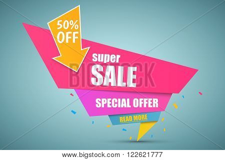 Super Sale paper banner. Sale background. Super Sale and special offer. Vector illustration