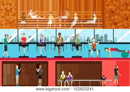 A vector illustration of inside gym scene