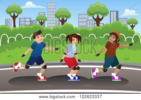A vector illustration of a group of kids rollerblading outdoor