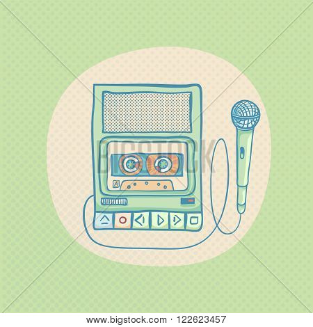 Handheld tape recorder with microphone. Hand drawn retro illustration with sunburst. Suitable for banner, ad, t-shirt design. Vintage design element