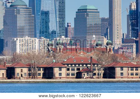 JERSEY CITY NEW JERSEY - MARCH 6: A closeup of Lower Manhattan's Financial District seen behind Ellis Island. Photo taken on March 6 2016.
