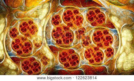 Living cells under microscope. Mysterious psychedelic microcosm relaxation wallpape. Sacred geometry. Fractal Wallpaper pattern desktop. Digital artwork creative graphic design.