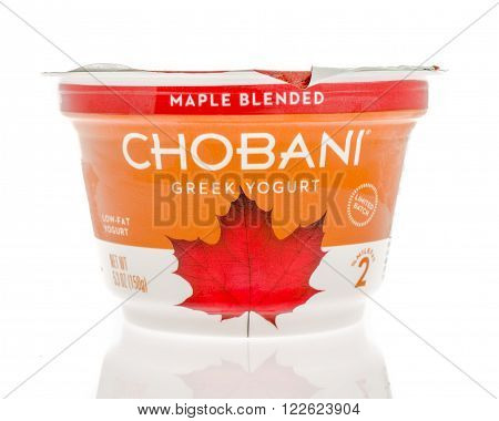 Winneconne WI - 2 March 2016: A container of Chobani Greek yogurt in maple blended flavor