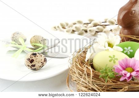 Photo Quail Eggs,nest With Flowers,chocolate Hare,catkins