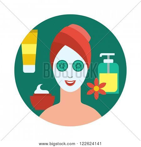 Flat style round banner of woman with a facial mask and cucumbers slices on eyes and a towel covering hair at professional spa and cosmetic procedures isolated concept vector illustration