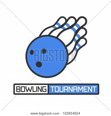 Vector bowling logotype. Design element for bowling related banner advertising materials