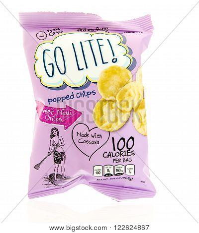Winneconne WI - 17 Feb 2016: Bag of Go Lite popped chips in sweet maui onion flavor.