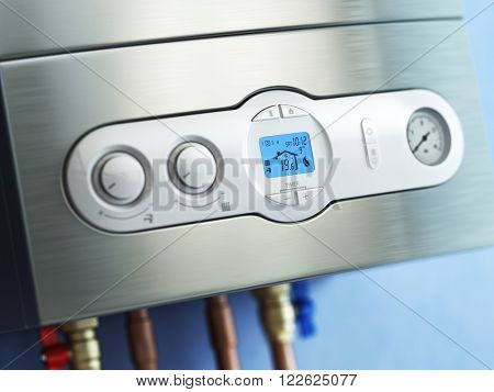 Gas boiler control panel. Gas boiler home heating. 3d