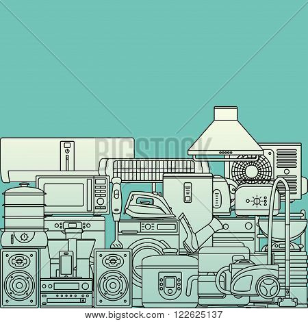 Background made of home appliances. Oven and toaster, fridge and freezer, stove and dishwasher. Contour icons. Info graphic elements. Modern design. Vector illustration