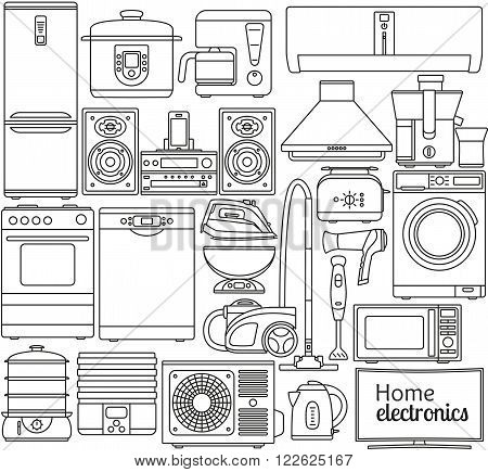 Set of line icons. Home appliances. Oven and toaster, fridge and freezer, stove and dishwasher. Contour icons. Info graphic elements. Simple design. Isolated on the white. Vector illustration
