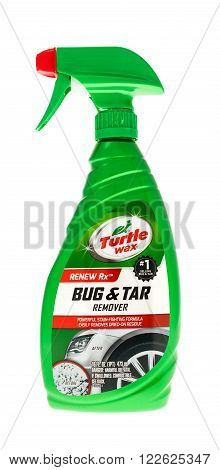 Winneconne WI - 15 May 2015: Bottle of Turtle Wax bug and tar remover to use on automobiles.
